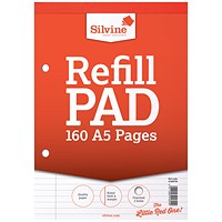Silvine Headbound Refill Pad, A5, Punched & Perforated, Feint Ruled, 160 Pages, Pack of 6