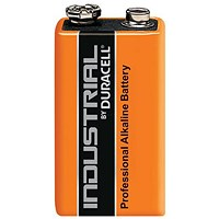 Duracell Industrial Alkaline Battery, 9V, Pack of 10