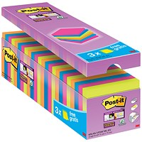 Post-it Super Sticky Notes Value Pack, 76x76mm, Assorted, Pack of 24 x 90 Notes
