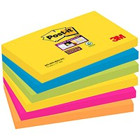 Post-it Super Sticky Notes, 76x127mm, Rio, Pack of 6 x 90 Notes