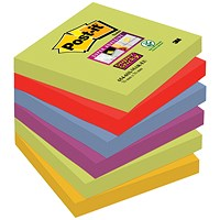 Post-it Super Sticky Notes, 76x76mm, Marrakesh, Pack of 6 x 90 Notes