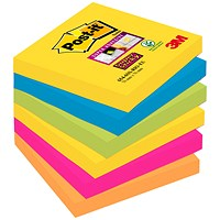 Post-it Super Sticky Notes, 76x76mm, Rio, Pack of 6 x 90 Notes