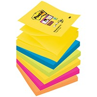 Post-it Super Sticky Z-Notes, 76x76mm, Rio, Pack of 6 x 90 Notes