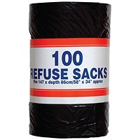 Big Value Refuse Sacks, Medium Duty, 92 Litre, 737x864mm, Black, Roll of 100