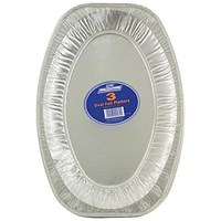 Robinson Young Caterpack Foil Food Platters, Oval, 430mm Diameter, Pack of 3