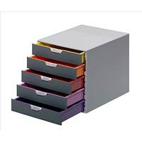 Durable Varicolor Stackable Desktop Drawer Set with 5 Drawers, A4