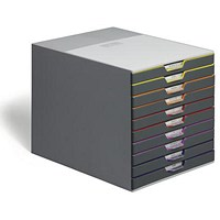 Durable Varicolor Stackable Desktop Drawer Set with 10 Drawers, A4