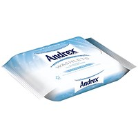 Andrex Flushable Toilet Tissue Moist Washlets, White, 1-Ply, 42 Sheets, 1 Pack