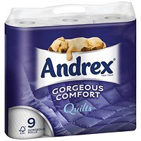 Andrex Luxury Quilted Toilet Rolls, 160 Sheets per Roll, 1 Pack of 9 Rolls