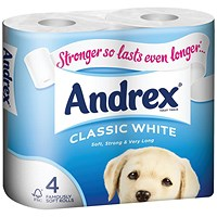 Andrex Classic Toilet Rolls, White, 2-Ply, 200 Sheets per Roll, 1 Pack of 4 Rolls