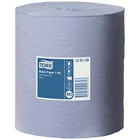 Tork Centrefeed Paper Rolls, 1-Ply, Blue, 6 Rolls