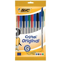 Bic Cristal Ball Pen / Assorted Colours / Pack of 10