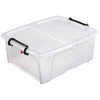 Strata Smart Box, 20 Litre, Clip-on Folding Lid, Carry Handles, Opens Front or Side, Clear