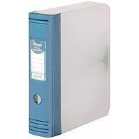 Hermes Plastic Box File, 80mm Spine, A4, Metallic Blue