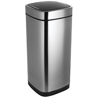 Addis Deluxe Square Waste Bin, Press Top, 40 Litre, Stainless Steel