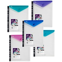 Snopake A4 PolyFile Ring Binder Wallets, High Capacity, Portrait, Assorted, Pack of 5