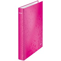 Leitz WOW Ring Binder, A4, 2 D-Ring, 25mm Capacity, Pink Pack of 10