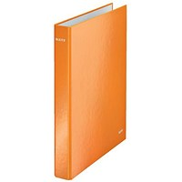 Leitz WOW Ring Binder, A4, 2 D-Ring, 25mm Capacity, Orange, Pack of 10