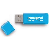 Integral Neon USB 3.0 Flash Drive, 32GB, Blue