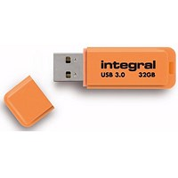 Integral Neon USB 3.0 Flash Drive, 32GB, Orange