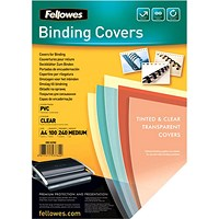 Fellowes Binding Covers, 240gsm, Clear, A4, Pack of 100