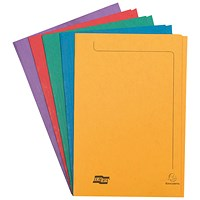 Exacompta Square Cut Folders, 265gsm, Foolscap, Assorted, Pack of 50