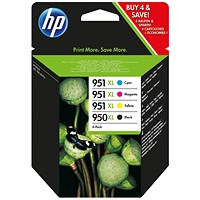 HP 950XL/951XL High Yield Ink Cartridge Multipack - Black, Cyan, Magenta and Yellow (4 Cartridges)