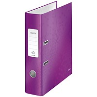 Leitz WOW A4 Lever Arch Files / 80mm Spine / Purple / Pack of 10