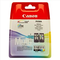 Canon PG-510/CL-511 Black and Colour Inkjet Cartridges (2 Cartridges)