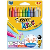 Bic Kids Plastidecor Crayons, Long-lasting, Sharpenable, Vivid Assorted colours, Pack of 12