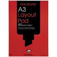 Goldline Layout Pad, A3, 50gsm, 80 Sheets, Pack of 5