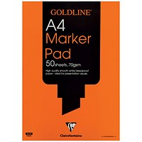 Goldline Marker Pad, A4, Bleedproof, 70gsm, 50 Sheets, Pack of 5