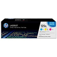 HP 125A Laser Toner Cartridges - Cyan, Magenta and Yellow (3 Cartridges)