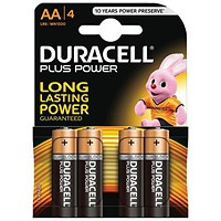Duracell Plus Power Alkaline Battery, AA, Pack of 4