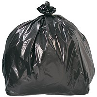 5 Star Refuse Sacks, Medium Duty, 110 Litre, 440x740x970mm, Black, Pack of 200