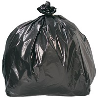 5 Star Refuse Sacks, Heavy Duty, 185 Litre, 550x810x1140mm, Black, Pack of 100