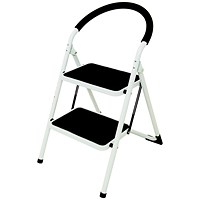 Step Ladder, 2 Tread, White Frame