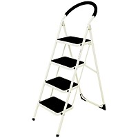 Step Ladder, 4 Tread, White Frame