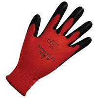 Polyco Safety Gloves, Light-duty, Level 1, Medium, Red & Black, Pair