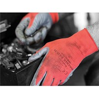 Polyco Nitrile Gloves, 15 Gauge, Large, Red & Black, Pair