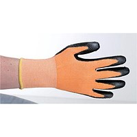 Polyco Safety Gloves, Heavy-duty, Level 3, Large, Orange & Black, Pair