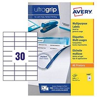 Avery White Multifunctional Labels / 30 per Sheet / 70x30mm / White / 3489 / 3000 Labels