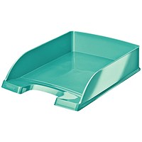 Leitz Bright Stackable Letter Tray - Glossy Metallic Ice Blue