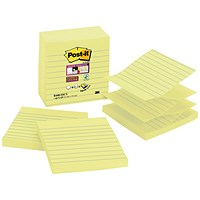 Post-it Z-Notes, Lined, 100x100mm, Yellow, Pack of 5