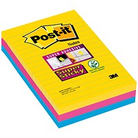 Post-it Super Sticky Notes, 102x152mm, Rio Assorted, Pack of 3 x 90 Notes