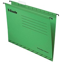 Esselte Classic Reinforced Suspension Files, Foolscap, Green, Pack of 25