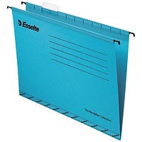 Esselte Classic Reinforced Suspension Files, Foolscap, Blue, Pack of 25