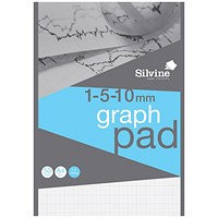 Silvine Professional Graph Pad, A4, 1/5/10mm Squares, 90gsm, 50 Sheets, Pack of 10