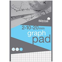 Silvine Professional Graph Pad, A4, 2/10/20mm Squares, 90gsm, 50 Sheets, Pack of 10