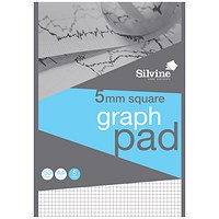 Silvine Professional Graph Pad, A4, 5mm Squares, 90gsm, 50 Sheets, Pack of 10